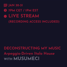 Load image into Gallery viewer, Jan 30/31 - Musumeci: Deconstructing My Music: Arpeggio-Driven Italo House
