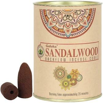 Goloka. Sandalwood backflow incense cones.