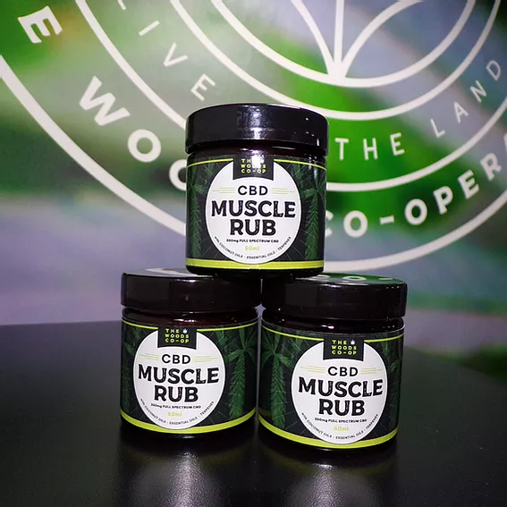 The woods co-op muscle rub. 350mg full spectrum cbd 50ml