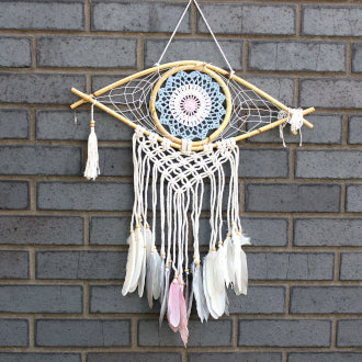 Protection Dream Catcher - Med Macrame. Evil eye blue / white/ pink.