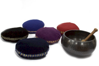 Singing bowl velvet cushion.