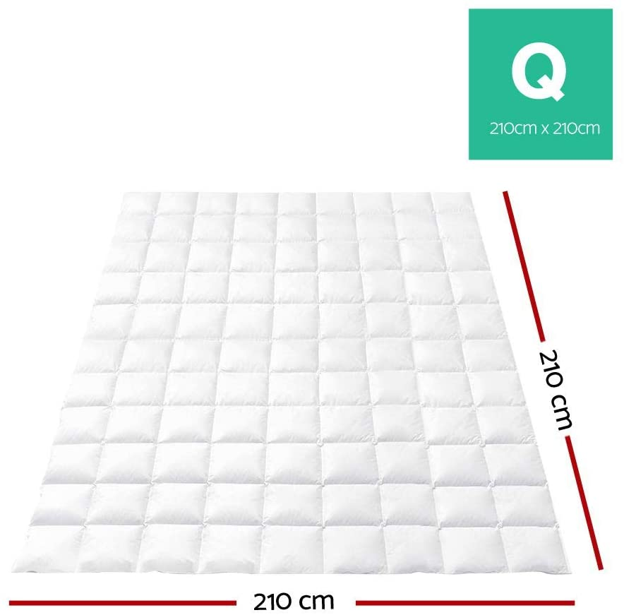 Giselle Bedding 700GSM Goose Down Quilt Cotton Cover Double-Stitched Soft Lightweight Duvet Doona Blanket for Winter - Queen Size White