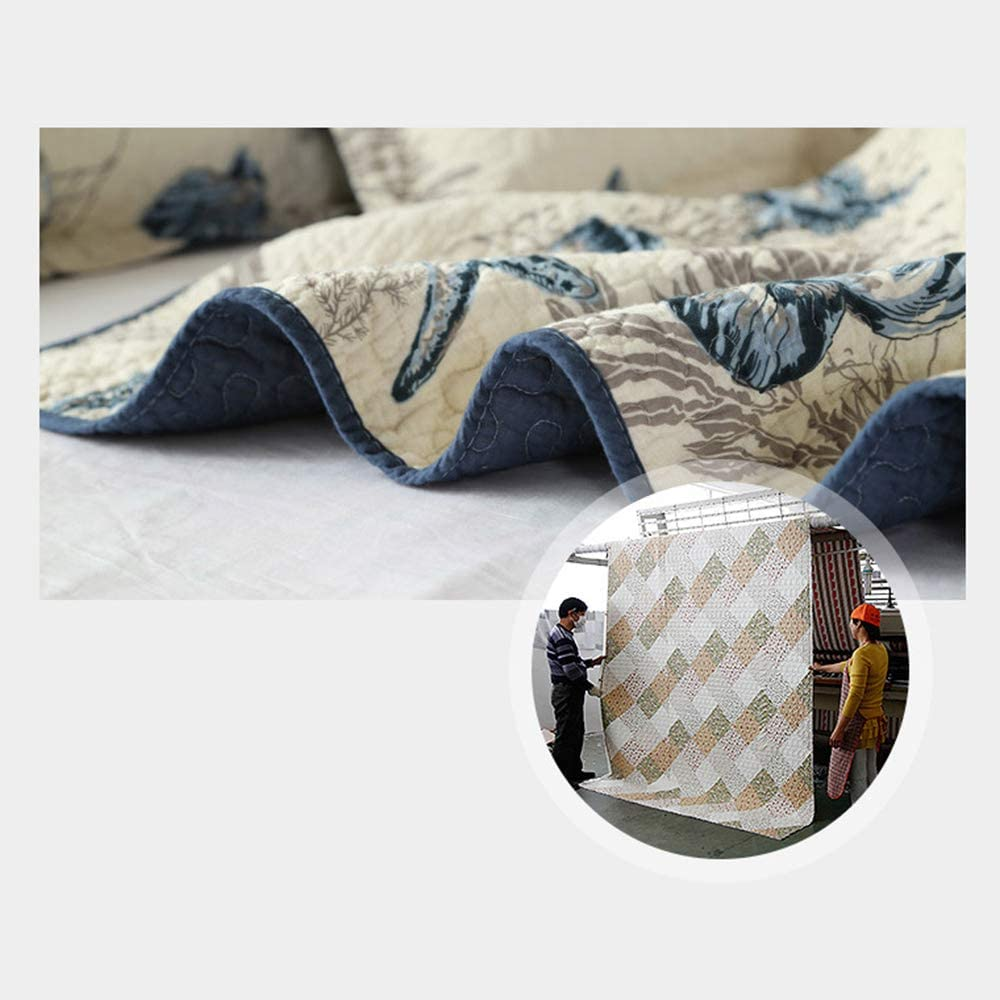 Quilt Bedding Set, Ocean Theme – 3 Piece Bedding Quilt\/Reversible Coverlets – 100% Cotton Filling Bed Quilts Quilted(Ocean-yt-c144)