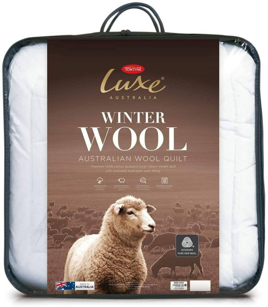 Tontine T7646 Luxe Australian Winter Wool Quilt, Double, White