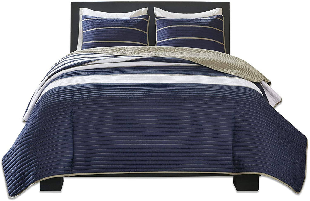 Comfort Spaces Quilt Coverlet Bedspread Ultra Soft Microfiber Pattern Hypoallergenic Bedding Set, Twin\/Twin XL, Verone White Blue Stripe,CS14-0213