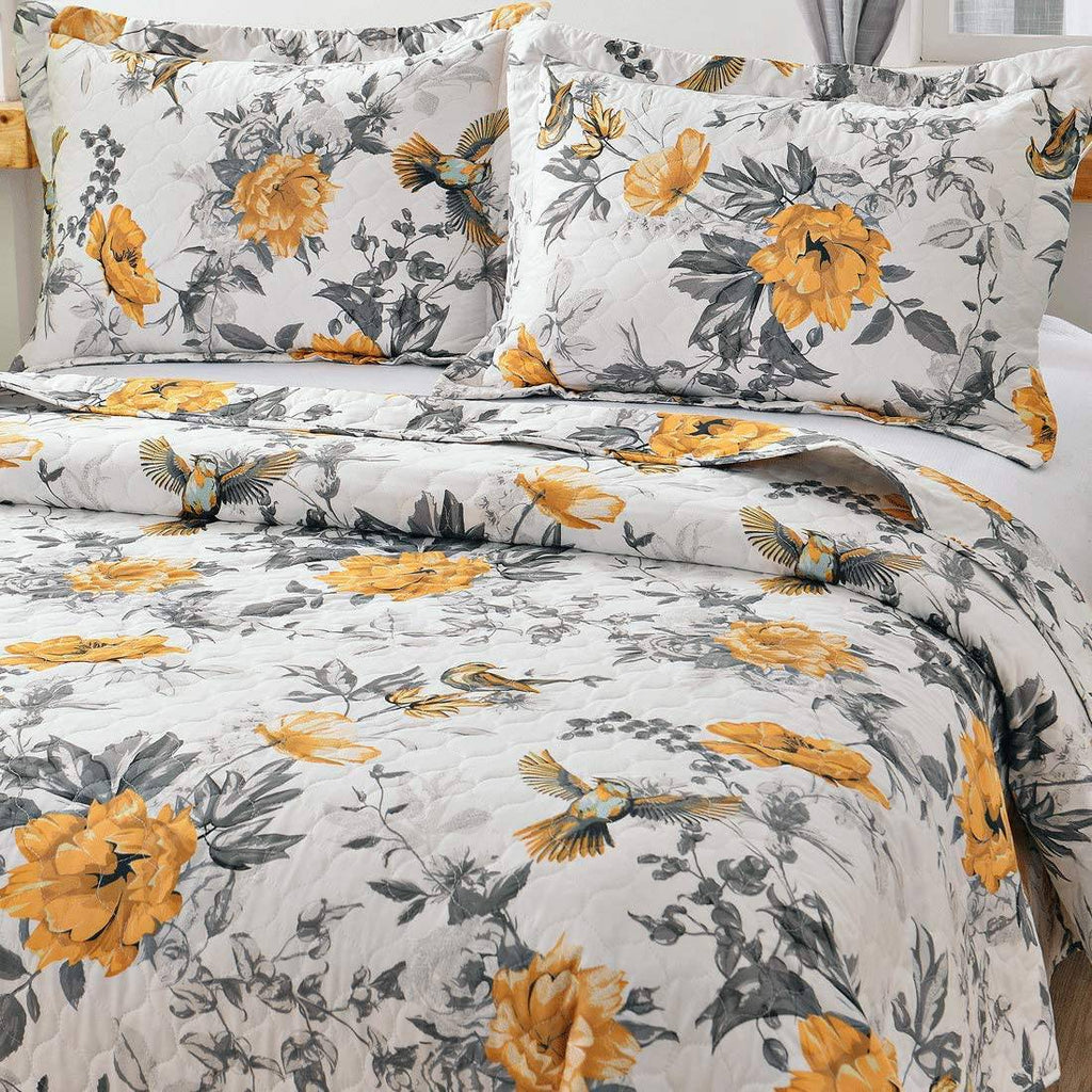 VITALE 3 Pieces Queen Size Bedspreads Coverlet Set,Vintage Floral Birds Quilts Full\/Queen with Standard Pillow Shams,Lightweight Bedspread Chinese Painting Countryside Blanket-Yellow White