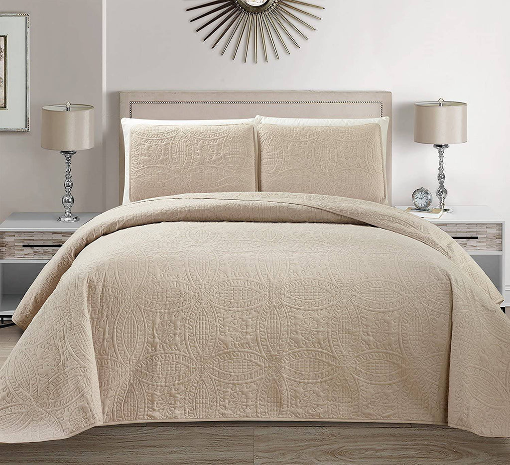 Fancy Linen LLC ancy Collection 3pc Full\/Queen Embossed Oversized Coverlet Bedspread Set Solid Beige\/Khaki New # Austin