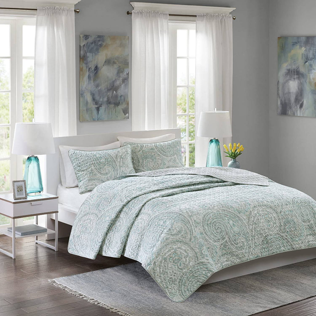 Comfort Spaces Quilt Coverlet Bedspread Bedding Set, CS14-0892, Fabric, Blue Grey, Full\/Queen