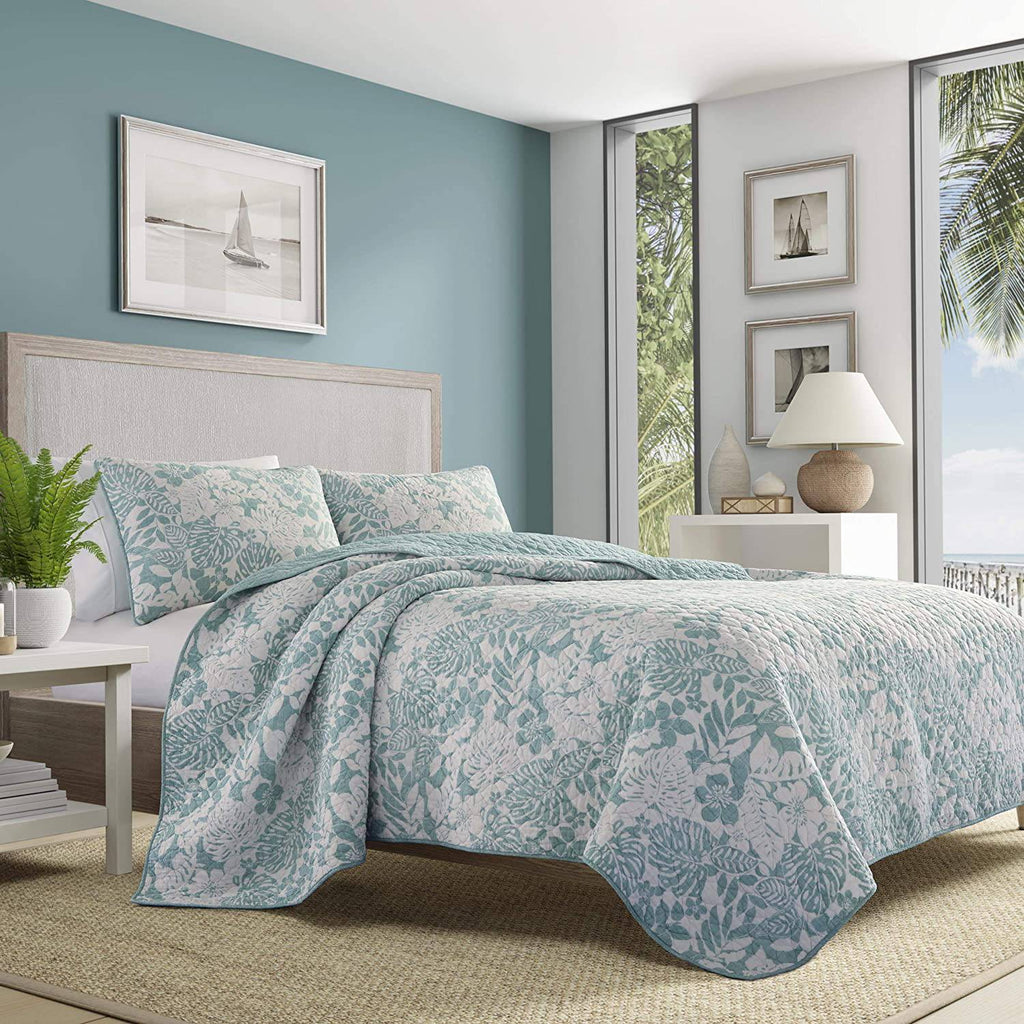 Tommy Bahama Laguna Beach Quilt Set, Full\/Queen, Aqua Blue