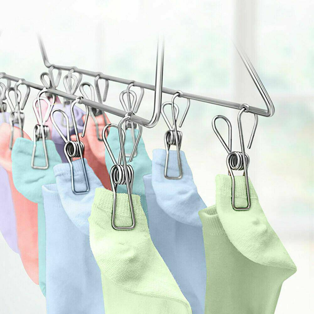 Stainless Steel Clothes Pegs Hanging Clips Pins Laundry Windproof Clamp