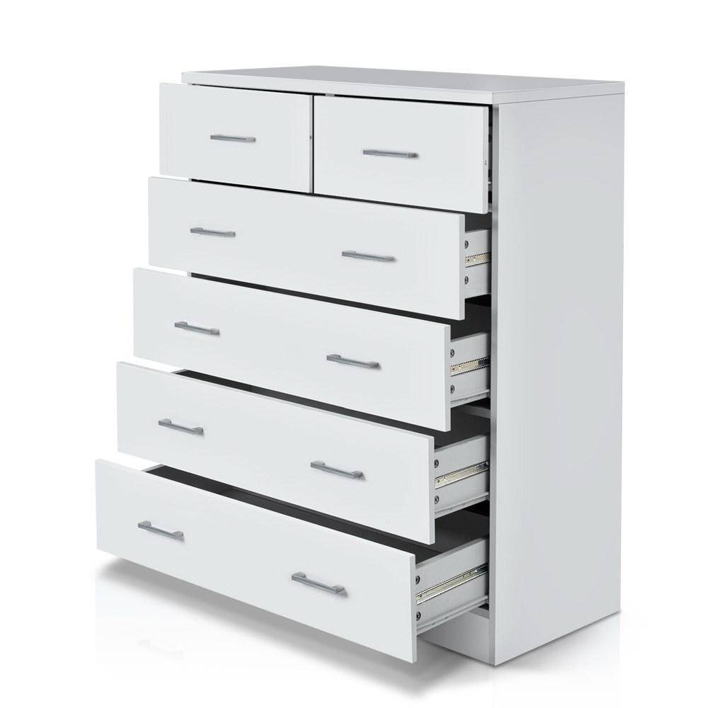 Tallboy Dresser Table 6 Chest of Drawers Cabinet Bedroom Storage White