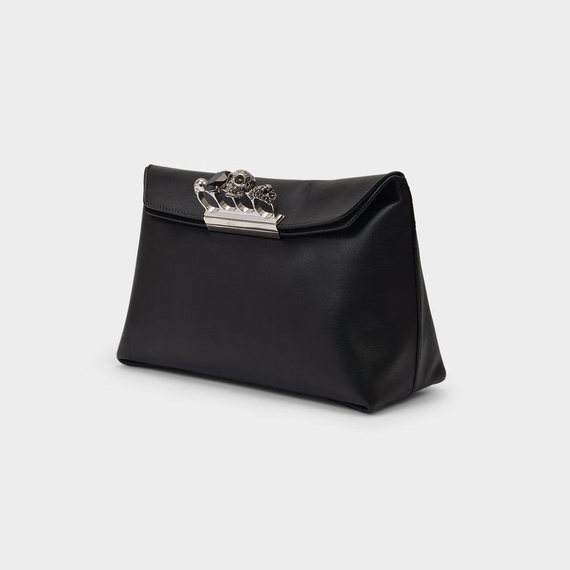 The Jewelled four-ring Bag in Black Leather