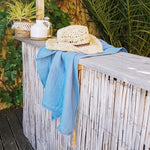 linibini  - Bath Towel with pompom and hand embroidered border on two sides, www.linibini.com