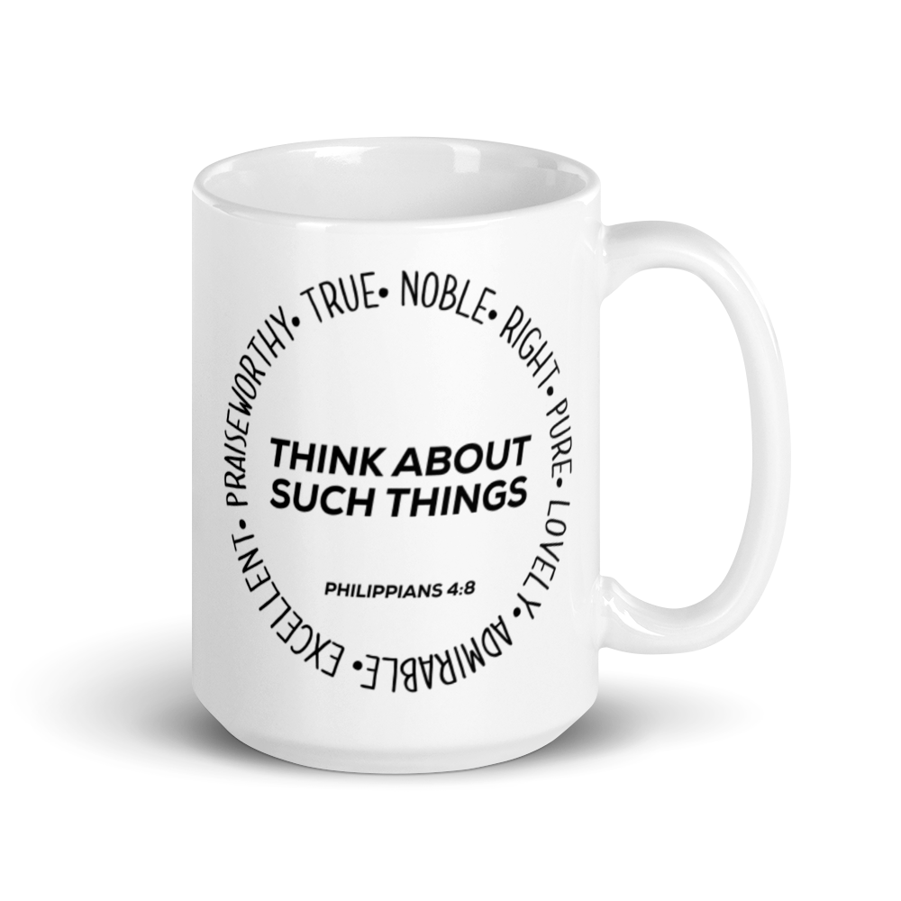 """Think About Such Things"" Mug by Jules Jordan"