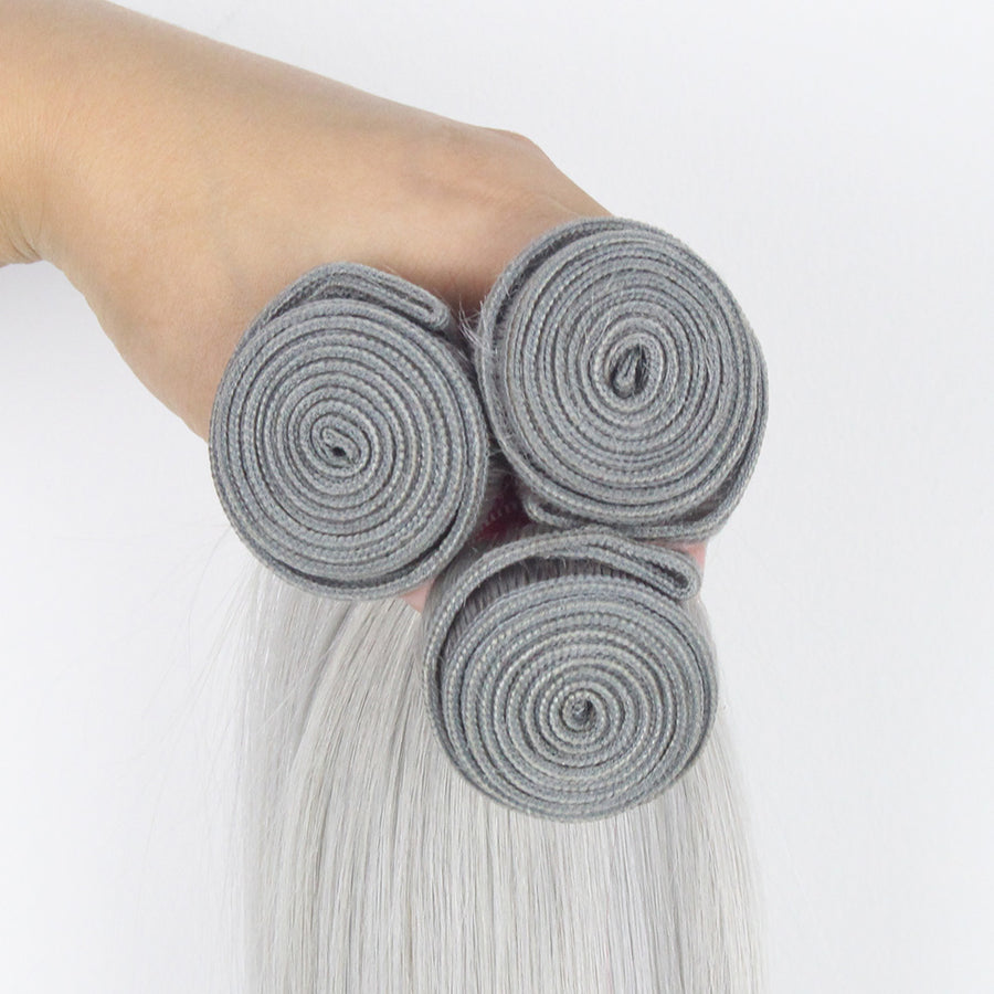 3 Bundles Deals Virgin Grey Color Straight Malaysian Hair Weaves On Sale