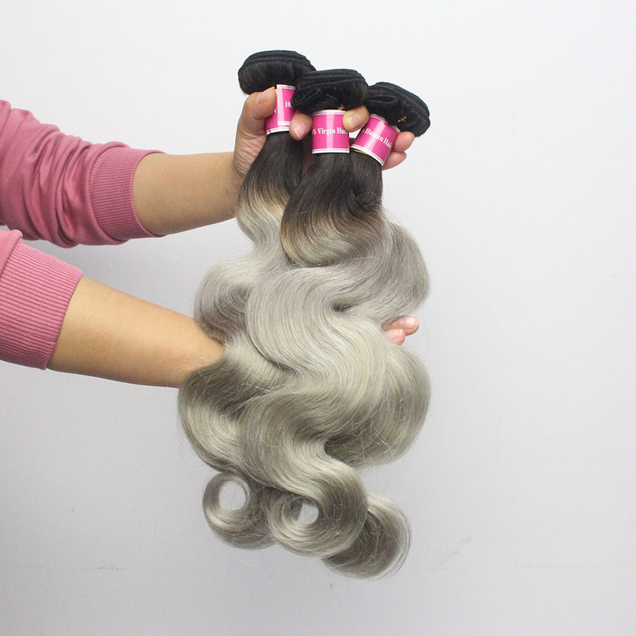 3 Bundles Wavy Ombre Hair T1B/Grey Remy Body Wave Hair Weaving Online Sale