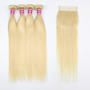 Ravished #613 Blonde Hair Straight Hair 4 Bundles With 4x4 Lace Closure For Full Looking