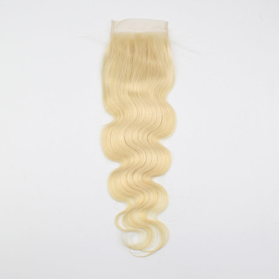 Body Wave Stunning Human Remy Hair #613 Hair Color 4x4 Lace Closure For Sew In Wig