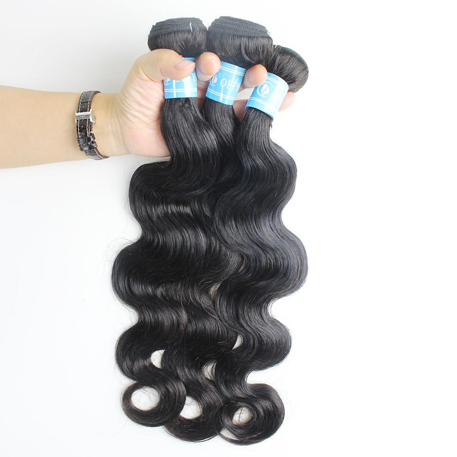 Brazilian Hair Body Wave 3 Bundles With 13x4 Lace Frontal Closure Unprocessed Virgin Coffy Hair