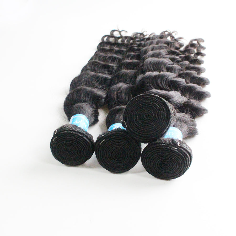 Brazilian Hair Loose Deep Wave 2Bundles With Closure 13x4 Lace Frontal For Sew In Hair Weave