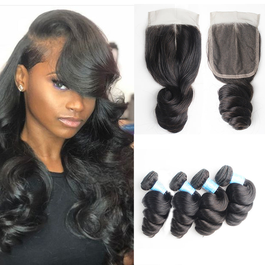 Cheap Human Hair Loose Wave 4 Bundles With 4x4 Lace Closure Factory Store Virgin Brazilian Hair