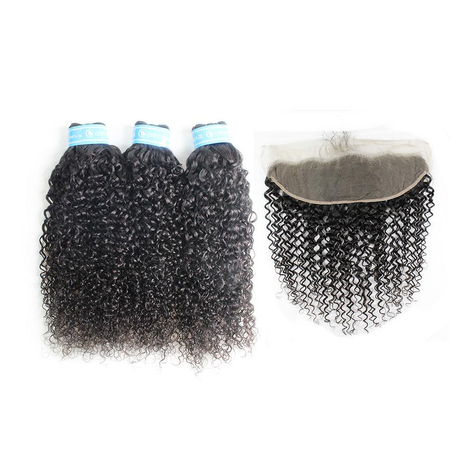 Pretty Indian Hair Extensions 13x4 Lace Frontal Hair Closure With 3 Bundles Human Indian Curly Hair