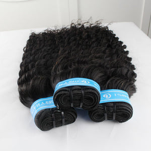 Special Offer Indian Hair 3 Bundles Deep Wave Human Hair Weave With Frontal Closure From One Donor