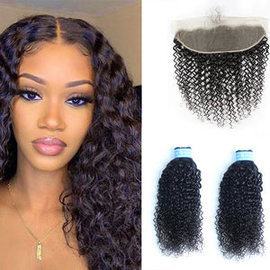 Curly Indian Hair Two Bundles With Closures 13*4 Transparent Lace Frontal 100% Human Hair For Girls