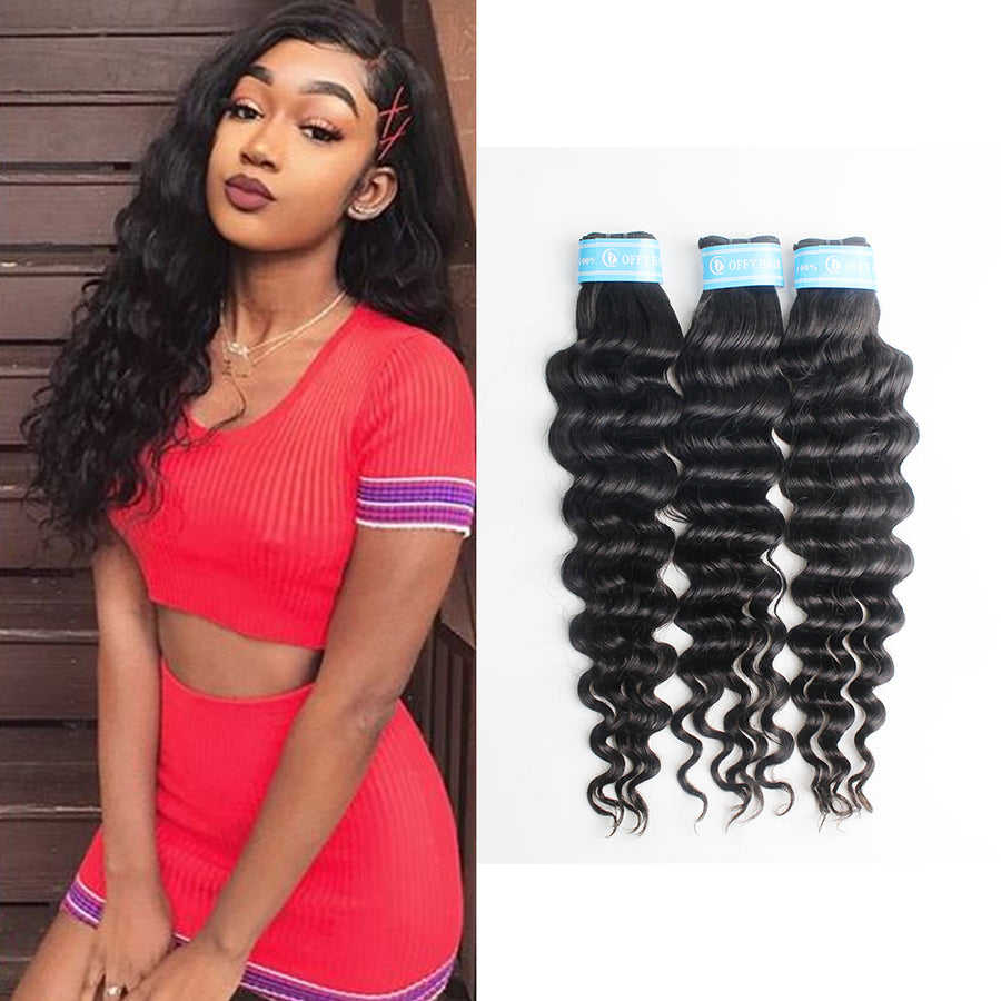 Indian Loose Deep Wave Human Hair Weaves 3Pcs Bouncy Wave Hair Bundles
