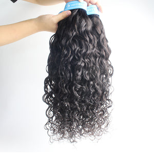 Indian Hair Amazing Water Wave Human Hair 3 Bundles With Closure 4x4 Lace Human Hair Extensions