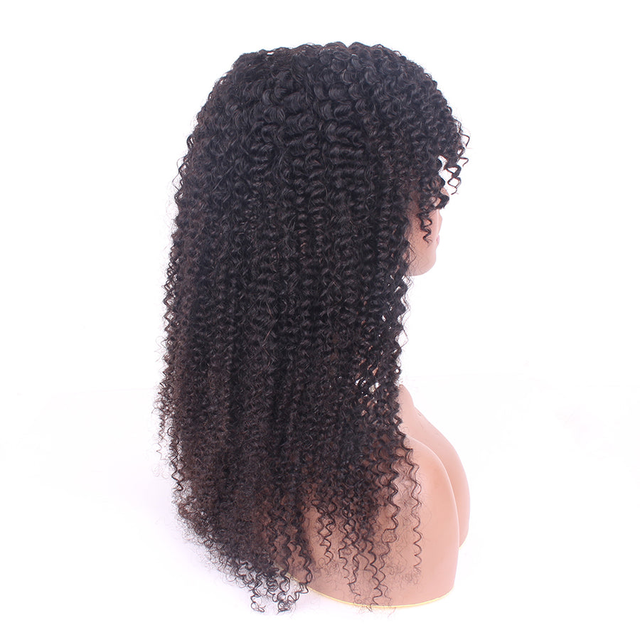 Blends Well Kinky Curly Machine Made Wigs No Frizzy Human Virgin Hair With Fringes