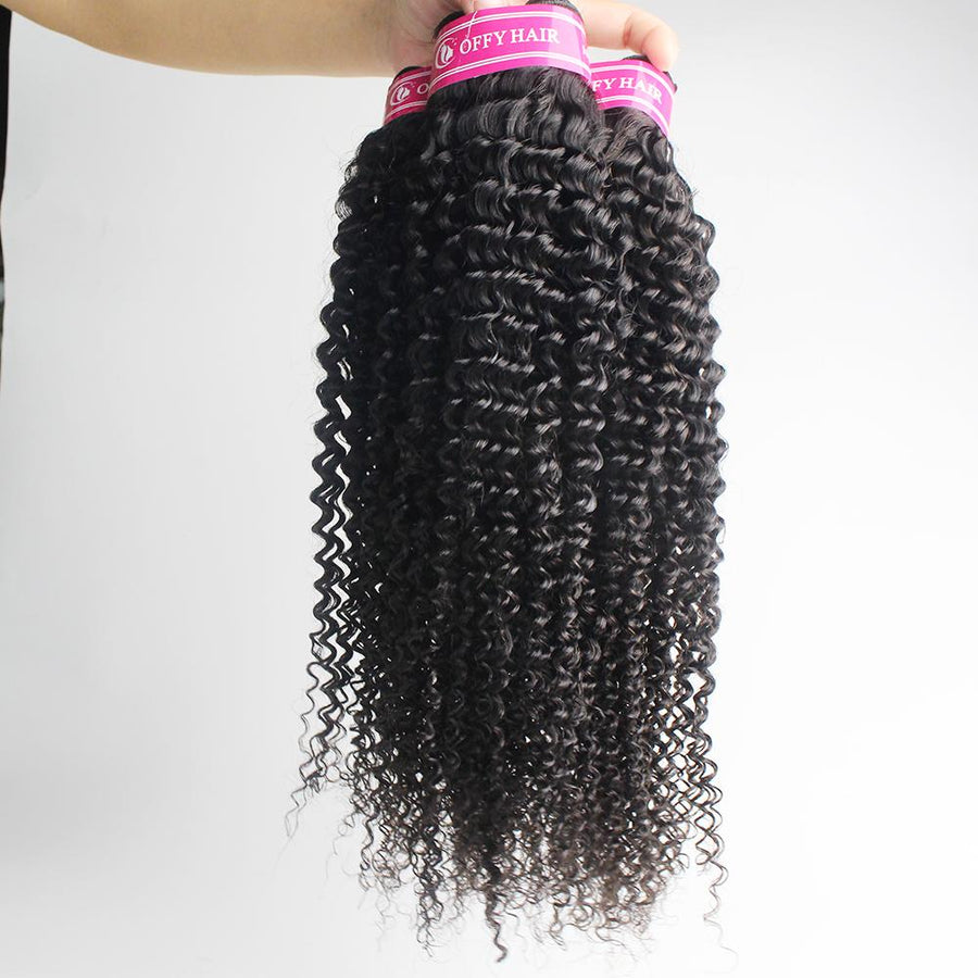 Malaysian Hair Kinky Curly 3 Bundles With Closure 13x4 Lace Frontal Natural Black Hair Color