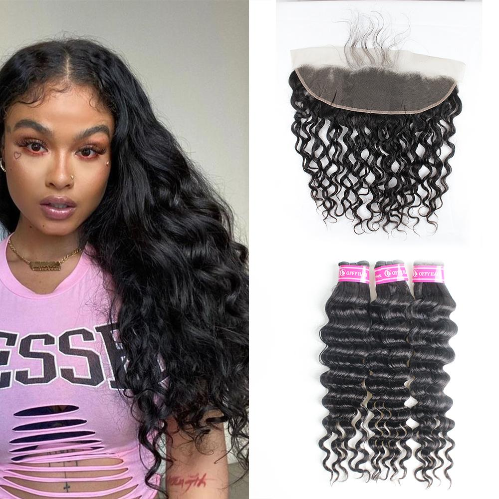 Malaysian Hair Extensions Loose Deep Wave 3 Bundles With Closure 13*4 Transparent Lace Frontal