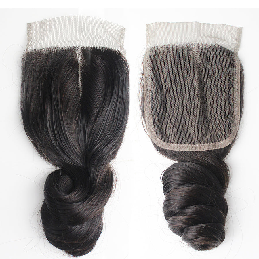 Malaysian Hair Loose Wave 4 Bundles With Closure 4x4 Lace Thicker and Fuller Best Virgin Human Hair
