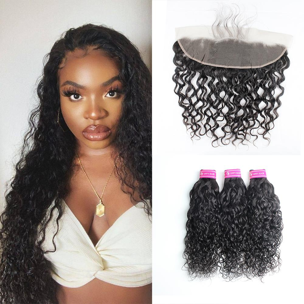 Malaysian Hair Bundles Transparent Lace Water Wave 3pcs With 13x4 Frontal Closure For Full Head