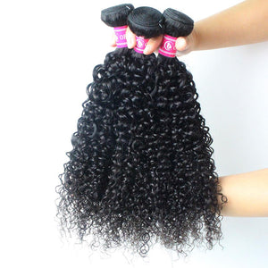 Peruvian Hair 100% Unprocessed Curly Human Hair 3 Bundles With Best Quality 13x4 Lace Frontal