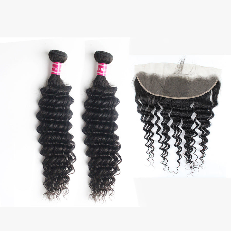 Peruvian Hair Deep Wave 2 Human Hair Bundles With 13x4 Lace Frontal Free Part Closure Can Be Dyed