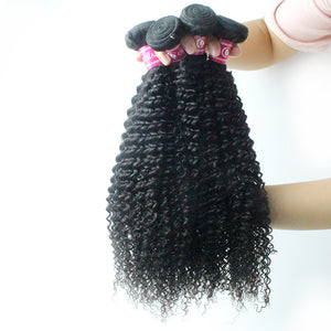 Bouncy Kinky Curly Remy Hair Bundles 3Pcs Peruvian Human Raw Hair Weaves