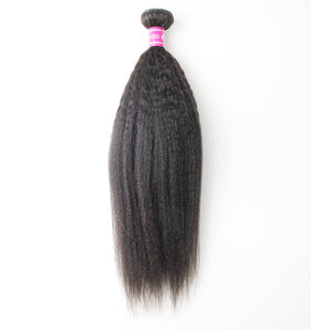 Peruvian Hair High Quality Kinky Straight Hair Closure 2 Bundles And 13*4 Lace Frontal With Baby Hair