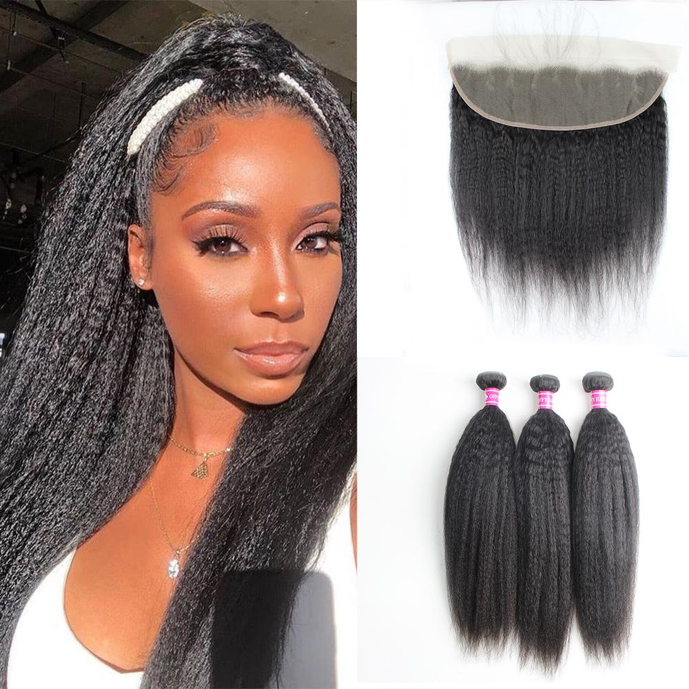 Peruvian Hair Bundles Kinky Straight Transparent 13x4 Lace Frontal Closure With 3 Bundles