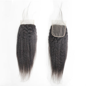 Peruvian Hair Favorite Kinky Straight Peruvian Human Hair 3 Bundles With Lace Closure 100% Remy Hair