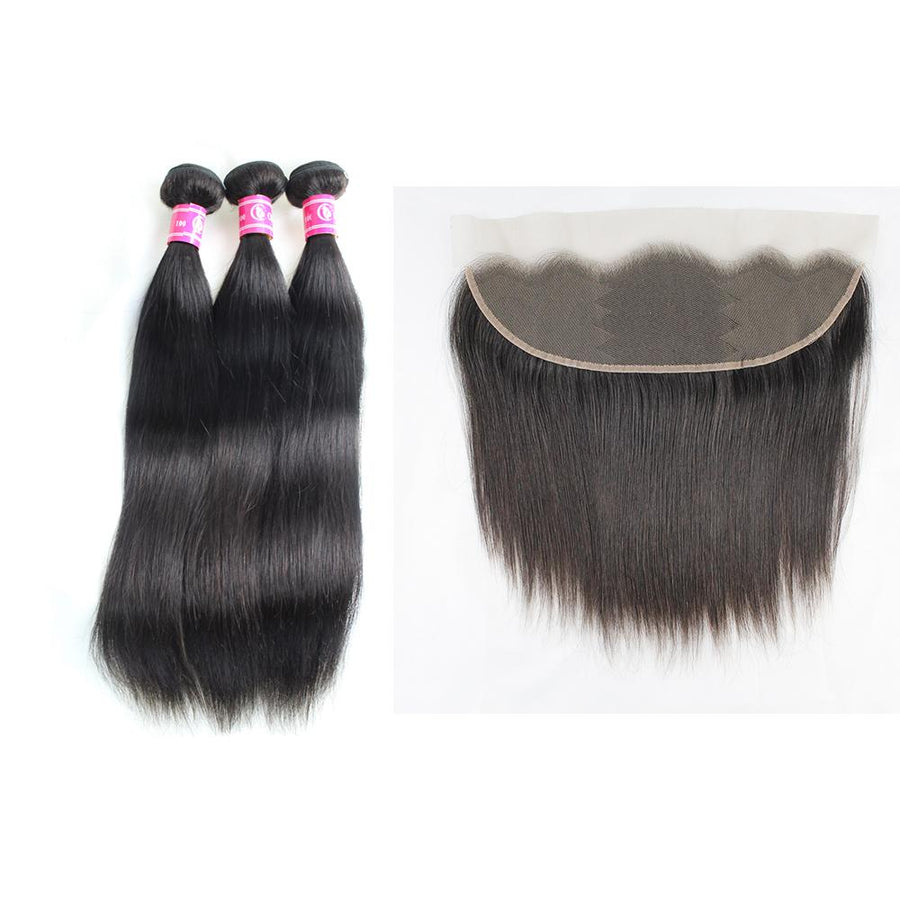 Peruvian Hair Straight 3 Bundles Deals With Closure 13x4 Lace Frontal Remy Hair Extensions