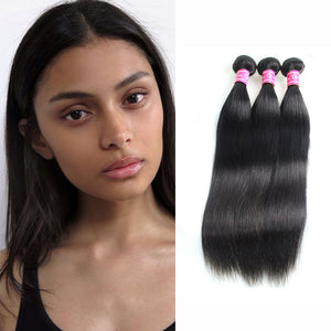 Smooth Straight Human Hair Weaves 3 Bundles Peruvian Virgin Hair Weft