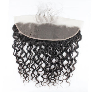 Peruvian Hair 100% Human Water Wave Hair 3 Bundles With 13x4 Lace Frontal Closure
