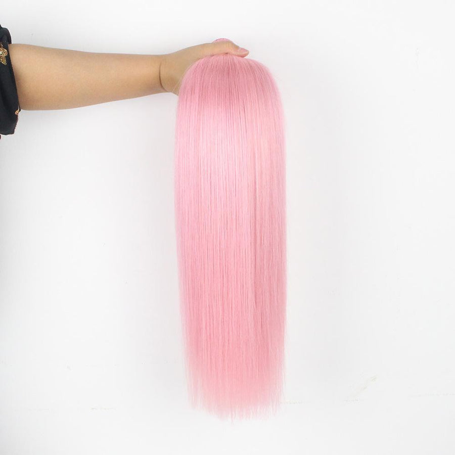Pink Hair Color Cute Straight Hair 3 Bundles With 13x4 Lace Frontal Closure For Sew In Wig