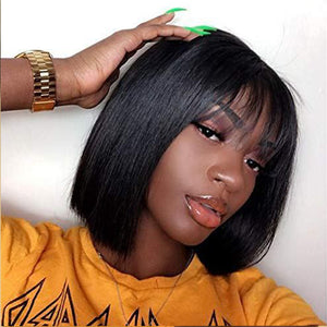 Bob Wigs With Bangs Straight Malaysian Human Hair Fringe Bob Cut Lace Front Bob Wigs For Women