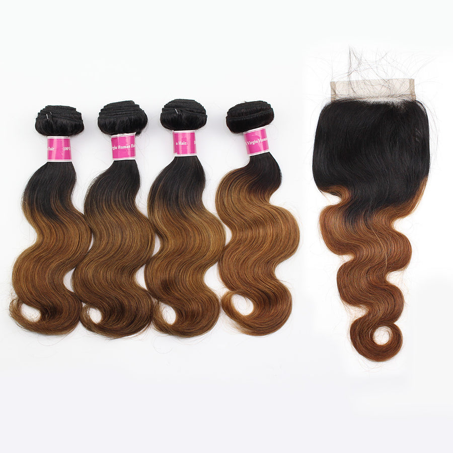 Amazing T1B/30 Color Ombre Human Hair Body Wave Hair 4 Bundles With 4x4 Lace Closure