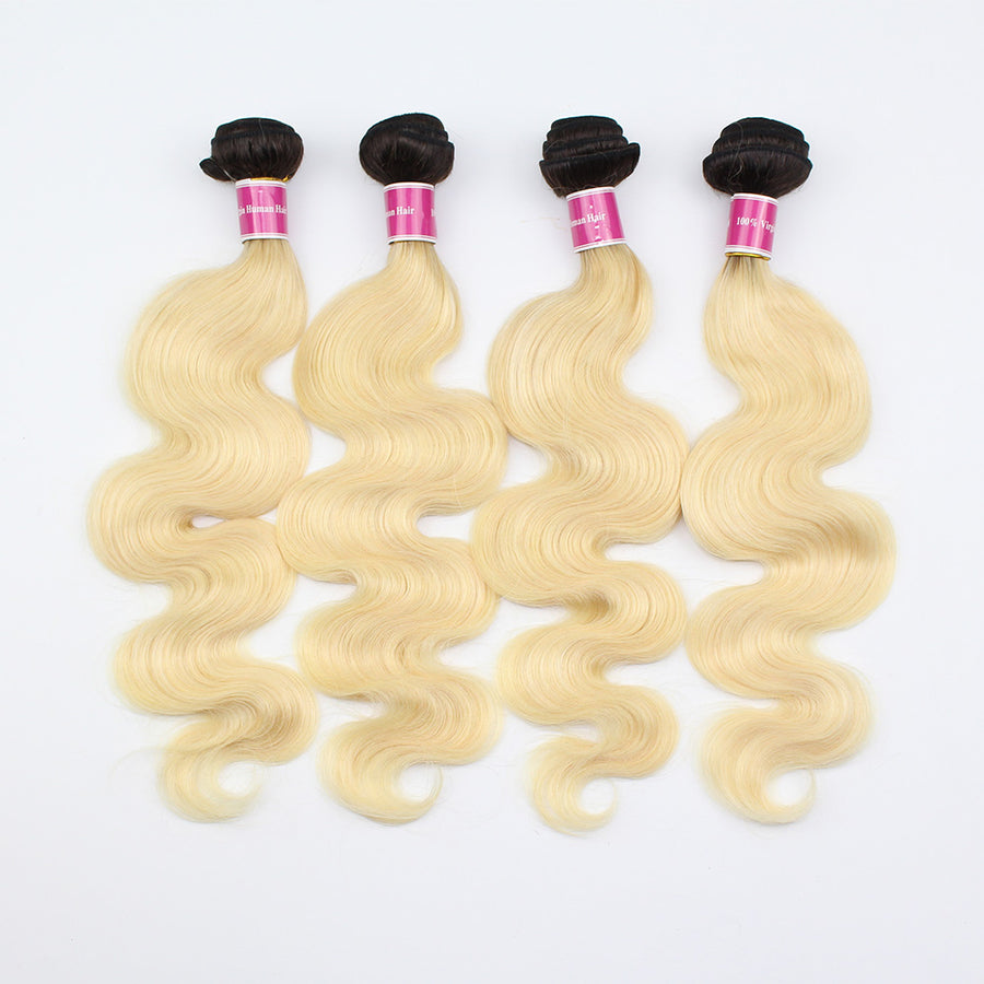 Ombre Hair T1B/613 Color Ombre Body Wave Hair 4 Bundles For Sew In Weaves