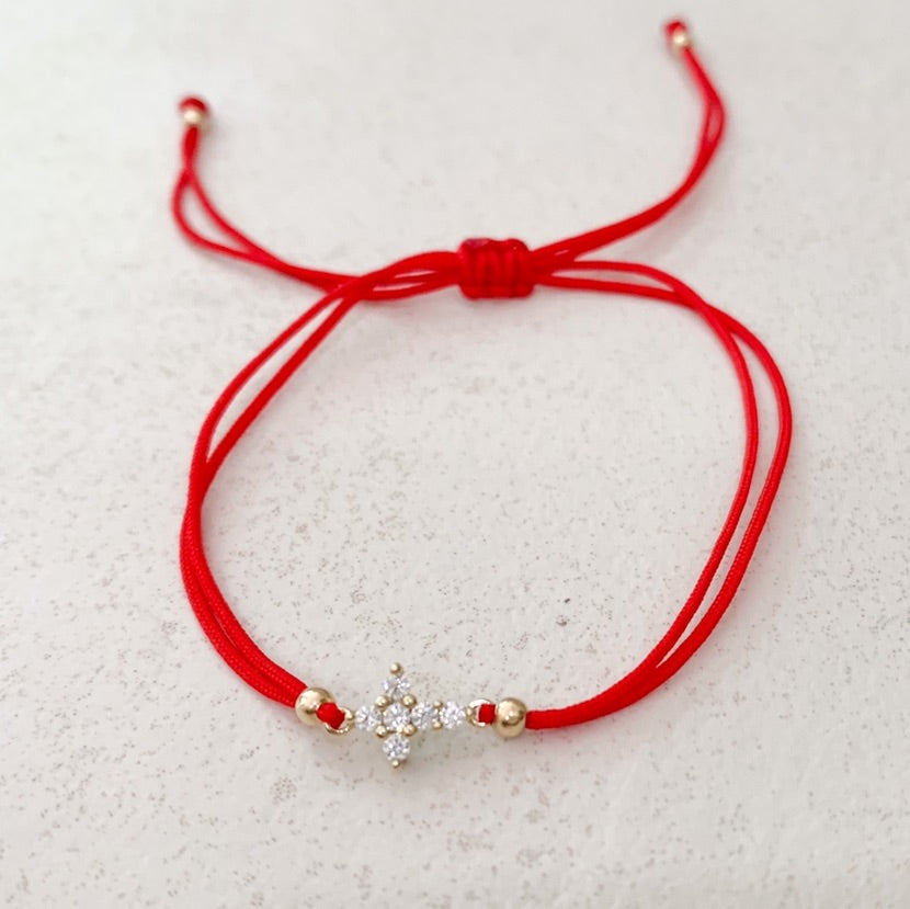 CZ Gold Cross Red String Bracelet