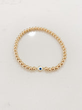Load image into Gallery viewer, Tiny Evil Eye Bracelet- Gold Beads